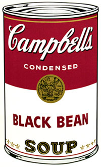 Andy Warhol, Campbell's Soup I (Black Bean), Screenprint / Ink, 1968