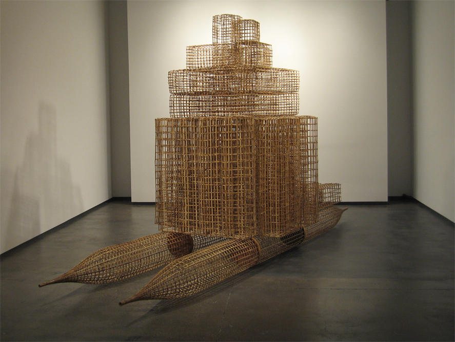 Sopheap Pich, Raft sculpture, Bamboo rattan wood wire metal bolts, 2009